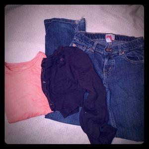 Lot of 3 Children's Place jeans, shirt, & cardigan